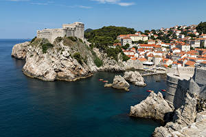 Desktop wallpapers Croatia Dubrovnik Houses Berth Bay Cliff Cities