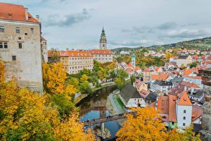 Fotos Tschechische Republik Haus Flusse Brücken Herbst Krumlov Städte