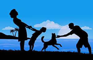 Desktop wallpapers Dogs Men Mother Vector Graphics Silhouette Resting Playing Family Girls