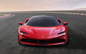 Pictures Ferrari Front Red Stradale SF90 Cars