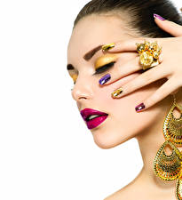 Wallpaper Fingers Jewelry White background Face Makeup Red lips Ring Manicure Beautiful Girls