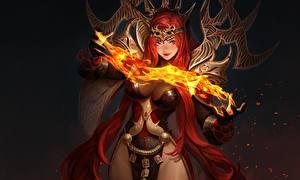 Bilder Feuer Magie Magier Hexer Rotschopf Hübscher Oh Jinwook, Hundred Soul Fantasy Mädchens