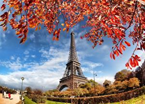 Bilder Frankreich Herbst Paris Eiffelturm Städte