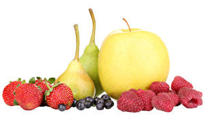 Images Fruit Apples Pears Raspberry Strawberry Blueberries White background Food
