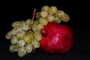 Images Fruit Grapes Pomegranate Black background Food