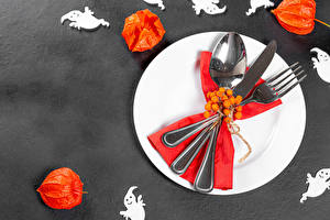 Wallpapers Halloween Knife Berry Gray background Plate Fork Spoon Physalis Food