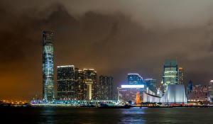 Bilder Hongkong Wolkenkratzer Nacht Bucht Victoria Harbour Städte