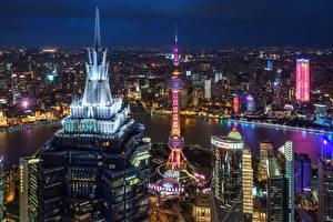 Desktop hintergrundbilder Haus Wolkenkratzer China Shanghai Nacht Megalopolis Städte