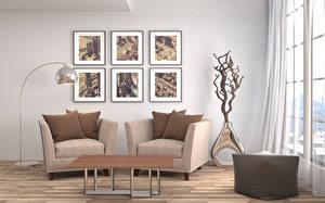 Desktop hintergrundbilder Innenarchitektur Wohnzimmer Design Tisch Sessel Lampe 3D-Grafik
