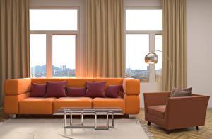 Fotos & Bilder Innenarchitektur Wohnzimmer Fenster Sofa Kissen Tisch Sessel Design Lampe 3D-Grafik