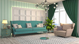 Image Interior Sofa Wing chair Table Pillows Lamp Living room 3D Graphics