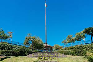 Sfondi desktop Italia Sicilia Parchi Alberi Italian flag at Villa Bellini park in Catania Natura