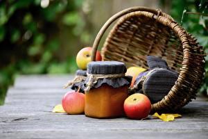 Bilder Warenje Äpfel Weidenkorb Weckglas Lebensmittel