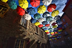Pictures Many Canada Quebec Umbrella Street Notre Dame des Anges Cities
