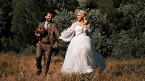 Wallpapers Man Couples in love Grass 2 Groom Brides Blonde girl Smile Dress Suit young woman