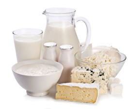 Images Milk Quark curd cottage farmer cheese Cheese Sour cream White background Jugs Highball glass Bottles Food