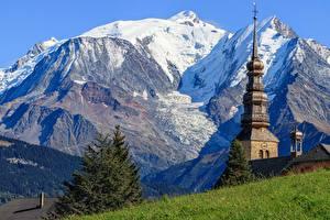 Bilder Gebirge Kirche Frankreich  Natur