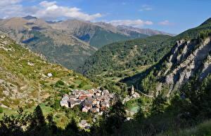 Bilder Gebirge Frankreich Felsen Dorf Alpen Saint-Dalmas Le Selvage