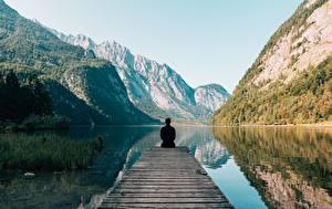 Fotos Berg See Mann Hinten Sitzt Natur