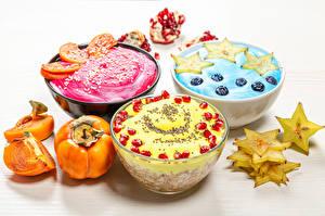 Fotos Müsli Kaki Joghurt Obst Nachtisch Frühstück Drei 3