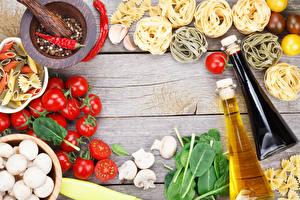 Fotos Pilze Tomaten Zucht-Champignon Bretter Makkaroni Flasche Öle