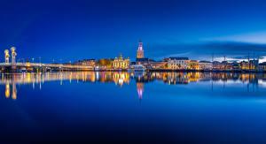 Bilder Niederlande Gebäude Nacht Bucht Kampen blue hour