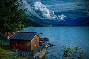 Fotos Norwegen Berg See Gebäude Wolke Isfjorden Natur
