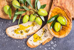 Fotos Oliven Brot Öle Blattwerk