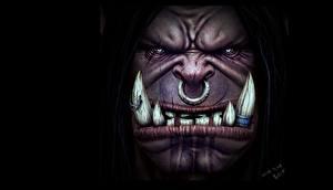 Hintergrundbilder Ork Eckzahn Zähne Gesicht Grommash Hellscream 3D PAINTING! 3D-Grafik Fantasy