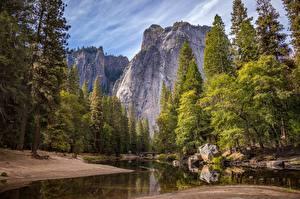 Fotos Parks USA Flusse Steine Brücke Yosemite Kalifornien Felsen
