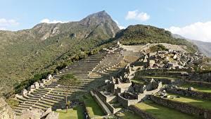 Papel de Parede Desktop Peru Montanhas Ruínas Machu Picchu, North America