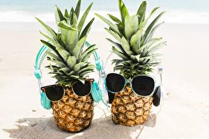 Picture Pineapples Glasses Headphones Sand