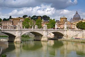 Images Rome Italy Bridges River Sculptures Tiber Cities