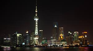 Bilder Shanghai China Wolkenkratzer Haus Türme Nacht Städte