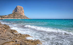 Hintergrundbilder Spanien Küste Meer Wasserwelle Felsen Calpe Natur