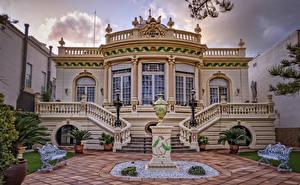 Image Spain Villa Sculptures Design Stairway Bench Street lights  Cities