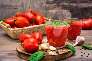 Wallpapers Spices Garlic Tomatoes Juice Highball glass Basil Food