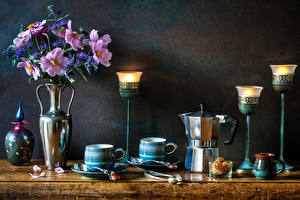 Images Still-life Bouquets Cosmos plant Cornflowers Candles Kettle Walls Vase Cup Food Flowers
