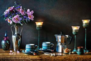Fotos Stillleben Sträuße Kosmeen Kornblume Kerzen Flötenkessel Wand Vase Tasse das Essen Blumen