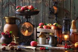 Pictures Still-life Kerosene lamp Apples Berry Boards Walls Jugs Mug Food