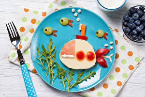 Pictures Submarines Creative Fork Plate Food