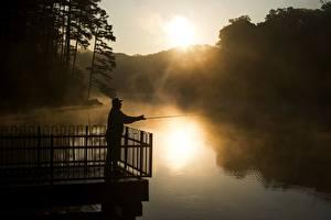 Photo Sunrises and sunsets Rivers Fishing Men Fog