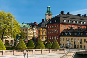 Image Sweden Stockholm Houses Shrubs Cities