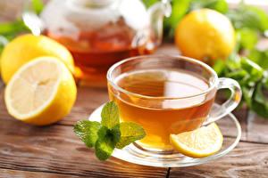 Fotos & Bilder Tee Zitrone Tasse Blattwerk Minzen Untertasse Lebensmittel