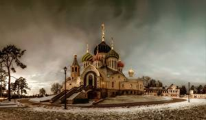 Pictures Temple Russia Church Snow HDRI Church Of St. Igor Of Chernigov, Peredelkino