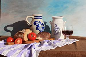 Wallpapers Tomatoes Ham Bread Tablecloth Still-life Jug container Cutting board Stemware Food