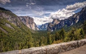 Fotos Vereinigte Staaten Park Gebirge Wälder Wasserfall Landschaftsfotografie Kalifornien Yosemite Wolke