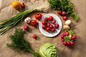 Hintergrundbilder Gemüse Radieschen Dill Kohl Tomate Kartoffel Teller das Essen