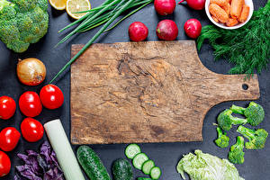 Picture Vegetables Radishes Tomatoes Cucumbers Onion Dill Cutting board Food