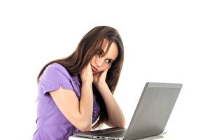 Pictures White background Brown haired Laptops Sit Girls